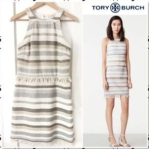 Tory Burch Jane Sleeveless Stripe Fringe Dress M